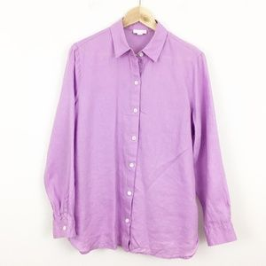 J Jill Love Linen Purple Linen Button Down Shirt